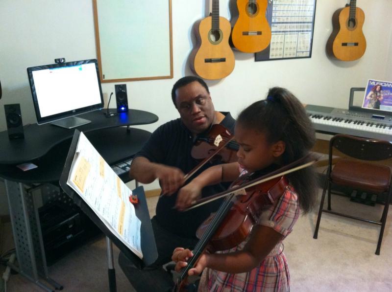 Viola student in studio