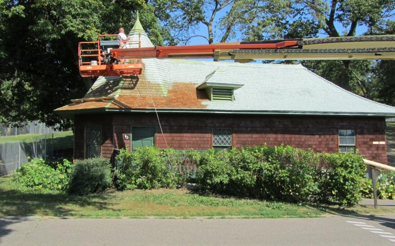 Roof repair and painting at the