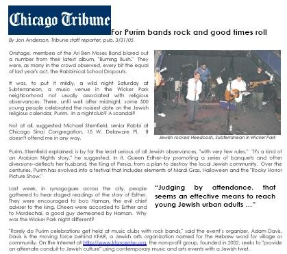 Chicago Tribune Article: Purim Event Coverage