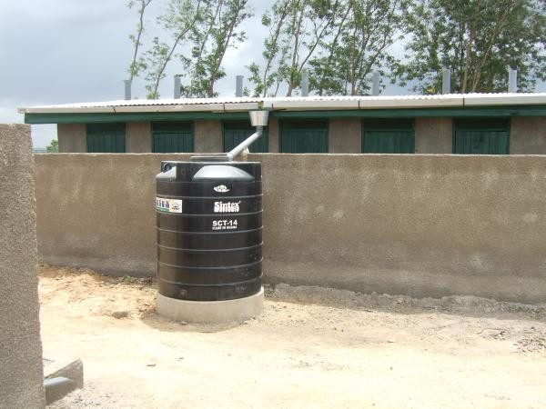 Rainwater catchment system at the new latrine