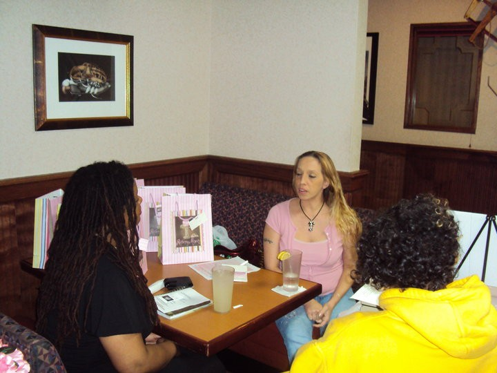 Rhonda Bayless, Executive Director talking with women about goal setting