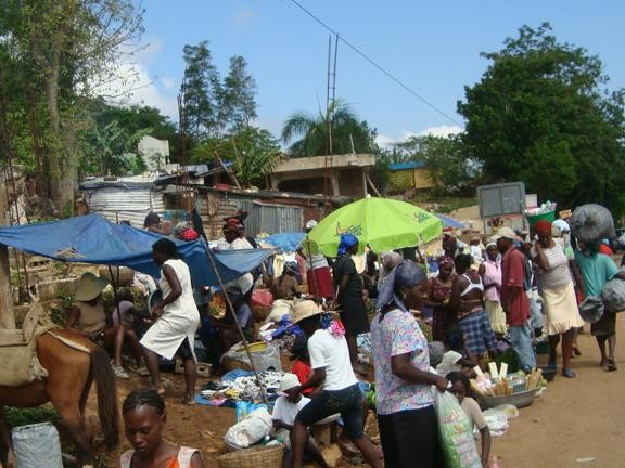 Roadside market in Jacmel, Haiti