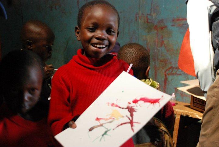 Teaching art to local kids in Kenya