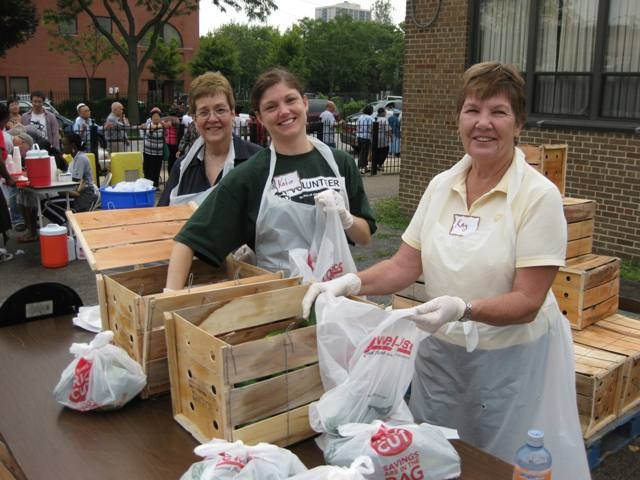 Volunteers at a Saturday Food Distribution Program