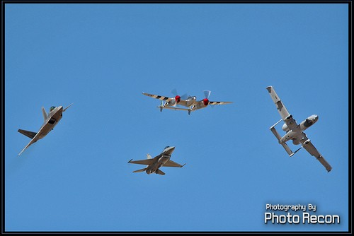 Our P-38 performing a Heritage Flight at Edwards AF Base AIr Show