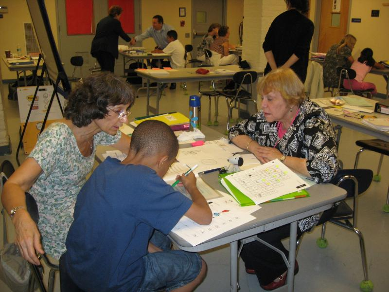 Assemblymember Joan Millman observing a summer tutoring session
