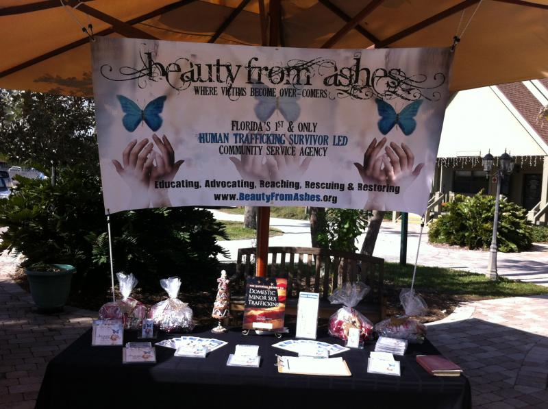 Our information table at Sanibel Community Church.