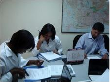 Health professionals take a training pre-test in Santo Domingo, Dominican Republic (2011).