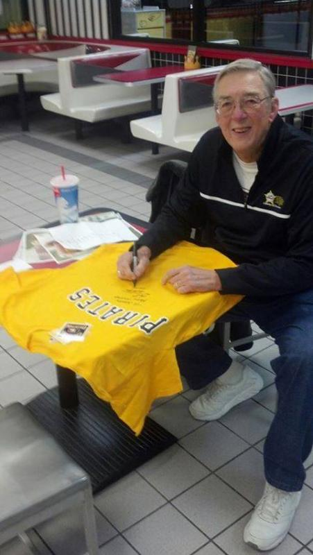 Kent Tekulve signs Pirate shirts for Operation Christmas Wish