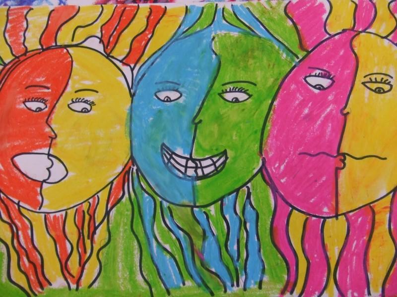 Self-portrait showing three emotions.
