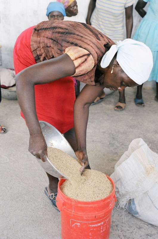 Milling grains at a Lambi Fund grain mill
