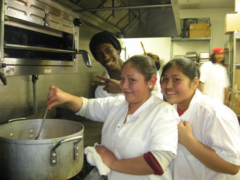 Youth Culinary Arts students work hard in the kitchen.